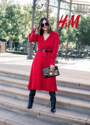 Шикарное жакардовое платье макси декольте на запах от h&m