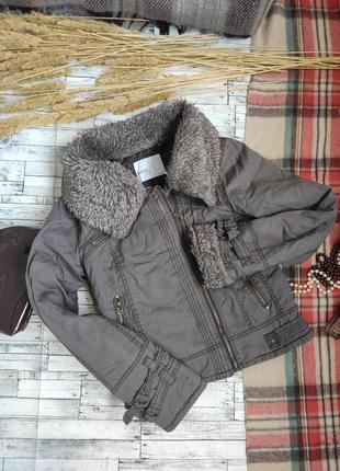 Куртка ветровка осень весна с меховым воротником m famous