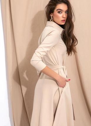 Платье бежевое с карманами 2020🔥