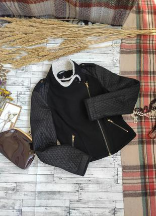 Куртка косуха осень весна с меховым воротником стеганными рука...