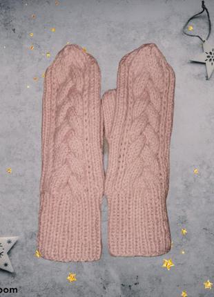 Варежки, рукавицы митенки  вязаные