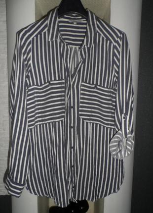 Стильная рубашка полоска next 48-50р,в идеале