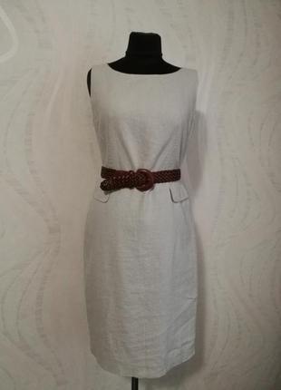 Нюдовое льняное платье футляр