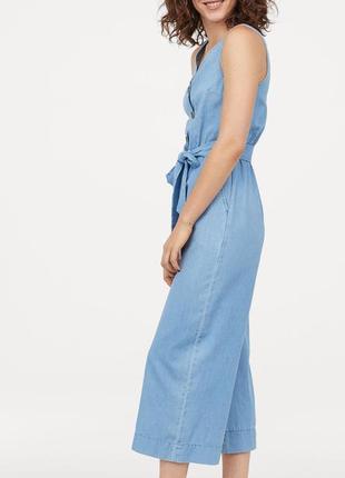 Джинсовый комбинезон с брюками кюлотами,укороченные брюки