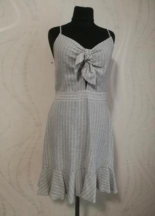 Легкий льняной сарафан платье