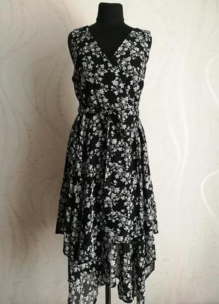Оригинальное асимметричное шифоновое платье халат,сарафан на з...