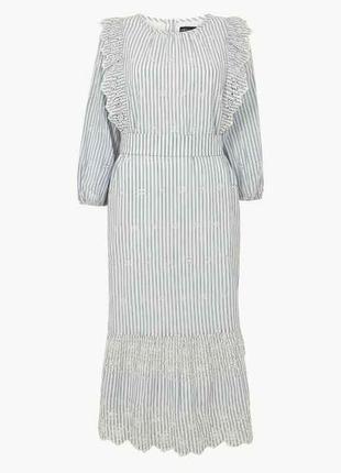 Хлопковое платье миди с воланами и вышивкой ришелье,платье виш...