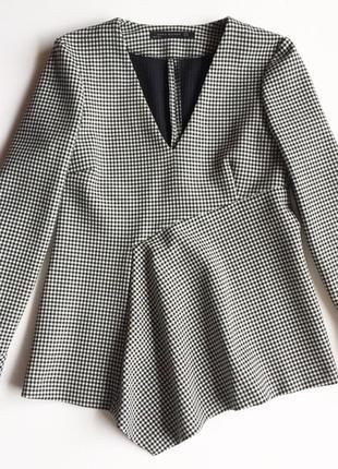 Ассиметричная блуза в гусиную лапку zara