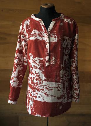Женская бело-коричневая хлопковая рубашка sorbet, размер l