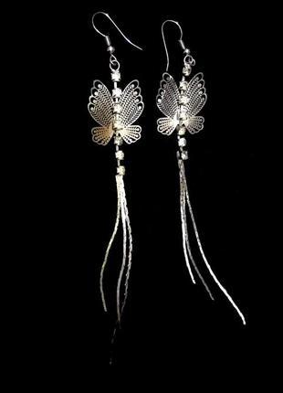 Очаровательные серьги подвески ажурные бабочки цепочки кристал...