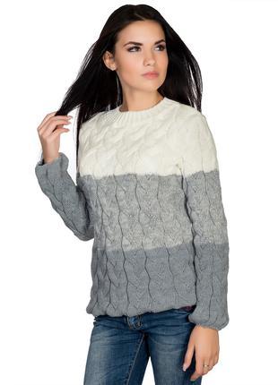 Пуловер свитер крупной вязки