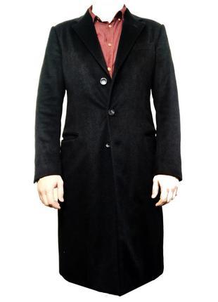 Мужское черное приталенное кашемировое пальто от итальянского ...