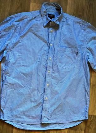 Мужская класичесская голубая рубашка в клеточку cottonfield