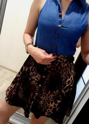 Платье брендовое крутое модное джинс и леопард стильное xs s 6