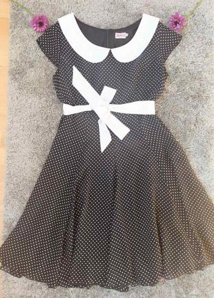 Платье с воротником в горошек 👗
