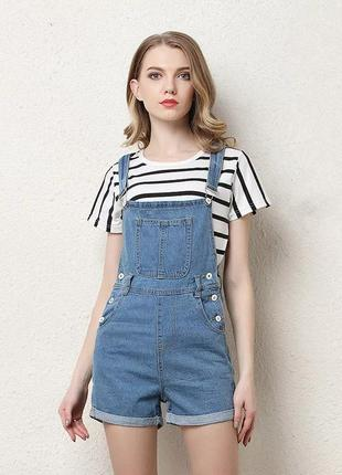 Летний женский джинсовый комбинезон модный комбинезон с завыше...