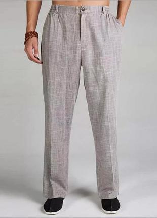 Летние для мужчин льняные хлопковые брюки