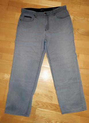 Мужские джинсы прямого кроя, серые брюки, большого размера