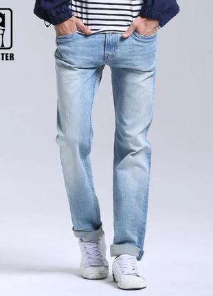 Мужские джинсы прямого покроя, голубые мужские брюки
