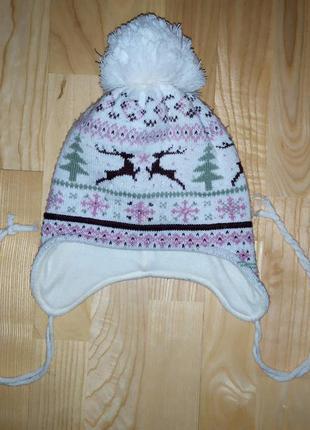 Зимняя шапка для девочки на 6-8 лет