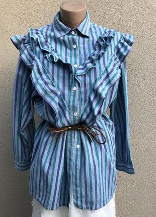 Винтаж,блуза,рубаха с рюшами,воланами,эксклюзив,хлопок,этно,бо...