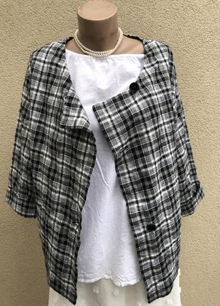 Легкий жакет,пиджак,кардиган,блуза в клетку,лён,хлопок,,oska,г...