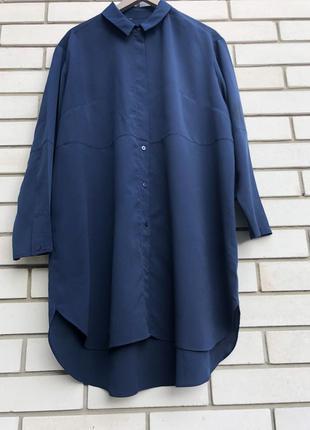 Синяя рубашка удлиненная,блуза реглан,туника,большого размера