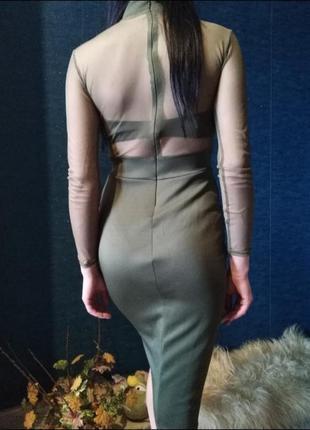 Идеальное платье хаки сетка