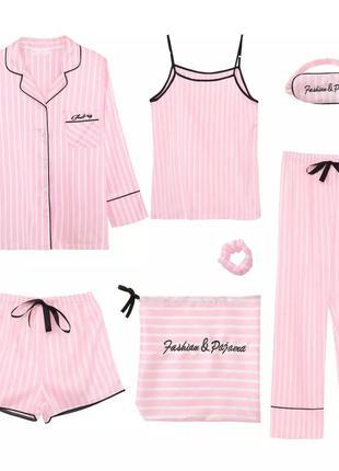 Пижама атласная 7 в 1 🌹 пижамный комплект