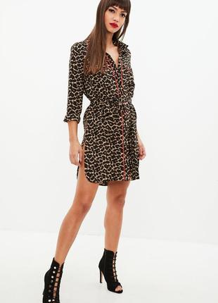 Шикарное шифоновое леопардовое платье-блуза с поясом