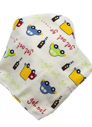 Слюнявчик, нагрудник, шейный платок для малыша яркие машинки
