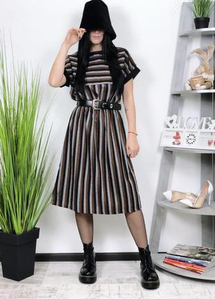 Винтажное платье миди в полоску