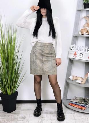 Кожаная юбка натуральная кожа винтаж taifun