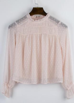 Персиковая блуза с клешем, блузка пудровая, весенняя блузка с ...