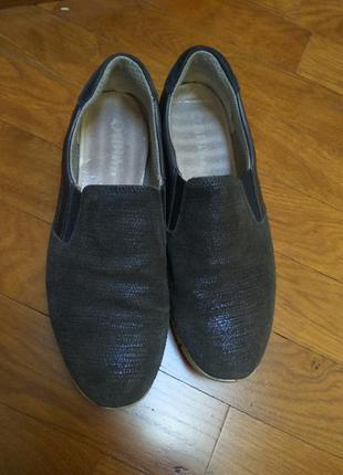 Туфли слипоны мокасины 100%замш