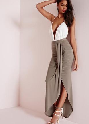 Шикарная юбка макси со сборкой спереди от missguided