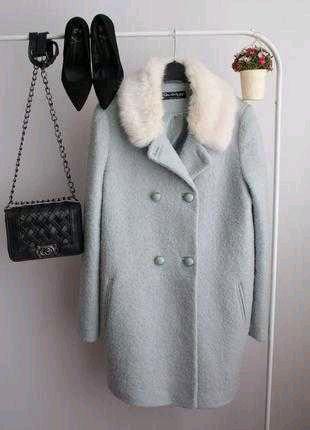 Пальто осень мята супер