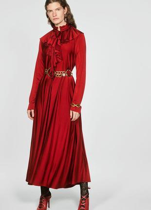 Длинное платье с воланами от zara