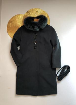 Зимнее демисезонное пальто женское изумрудное