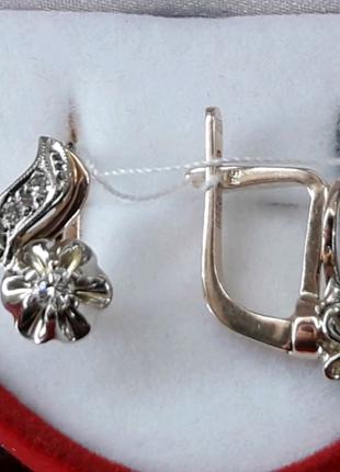 Золотые серьги с бриллиантами СССР Проба 583