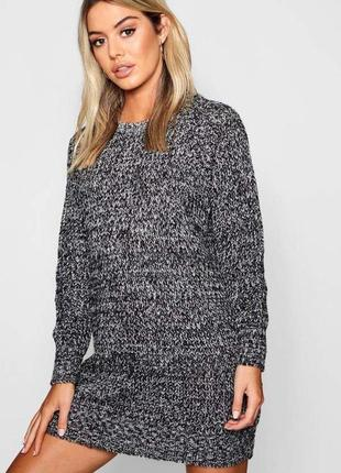 Теплое меланжевое платье-свитер длинны мини от boohoo