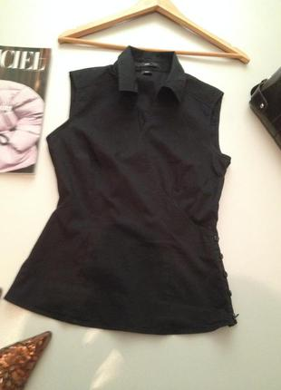 Коттоновая блуза рубашка на запах xs-s.1023
