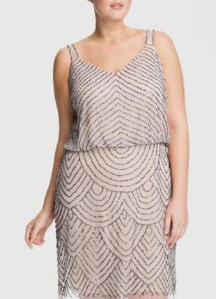 Нежное сверкающее вечернее платье расшитое бисером стеклярусом
