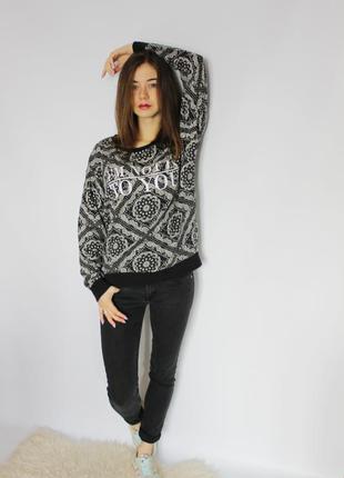Базовый свитшот в орнамент, кофта, свитер, джемпер h&m m-l