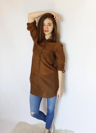Шелковая хлопковая блуза рубашка туника на пуговицах с длинным...