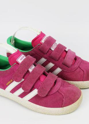 Розовые оригинальные кроссовки adidas gazelle  на липучках раз...
