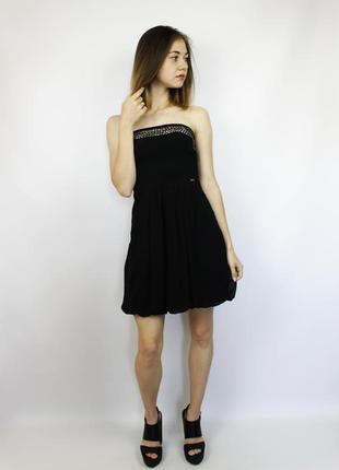 Черное платье бюстье с металлическим декором и шифоновой встав...