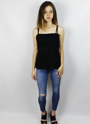 Новая чёрная плиссированная шелковая майка, блуза на тонких бр...