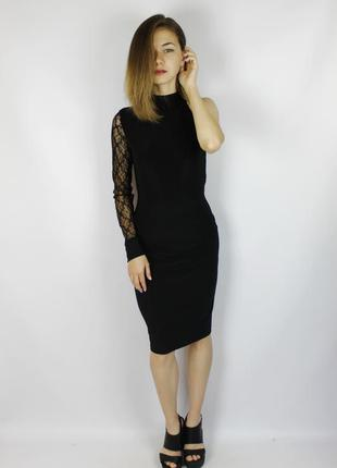 Вечернее чёрное миди платье по колено с кружевным рукавом и кр...