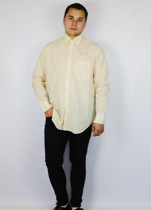 Daks стильная мужская рубашка в желто белую клетку с воротом o...